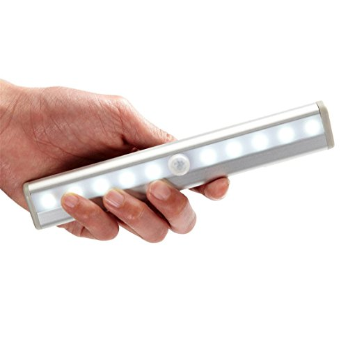 Little Cherry Stick-on Anywhere Portable 10-LED Wireless Motion Sensing Closet Cabinet LED Night Light / Stairs Light / Step Light Bar (Battery Operated)