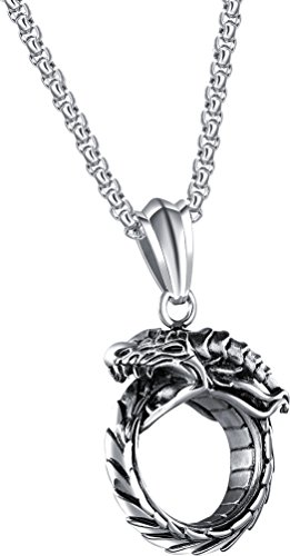 - Wonlines Hip Hop Stainless Steel Dragon Head Medallion Tag Pendant Necklace(White)