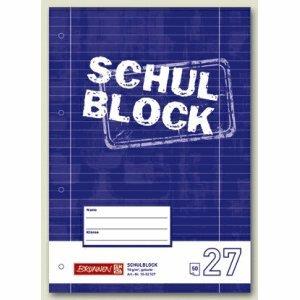 10 x Brunnen Schulblock A4 liniert Lineatur 27 mit Rand 4-fach gelocht 50 Blatt