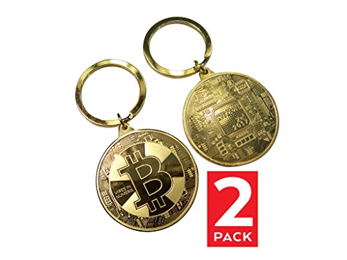 Edition Two Pack (Bitcoin Key Chain | 24kt Gold Plated Limited Edition Original Commemorative Key Chain by Dhahab | Two (2) Pack)