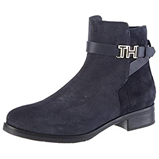 Tommy Hilfiger Damen TH Hardware Flat Bootie Stiefeletten, Blau (Midnight 403), 38 EU 2