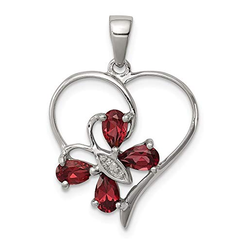 925 Sterling Silver Red Garnet Diamond Butterfly Heart Pendant Charm Necklace Gemstone Love Fine Jewelry Gifts For Women For Her