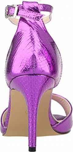 Ankle PU 5 Wedding OL 1XEY Sexy Open Purple Heeled EU Straps Nightclub Ladies 107 Toe 37 Sandals Party Bridesmaid Job Bride wOp0ZqH