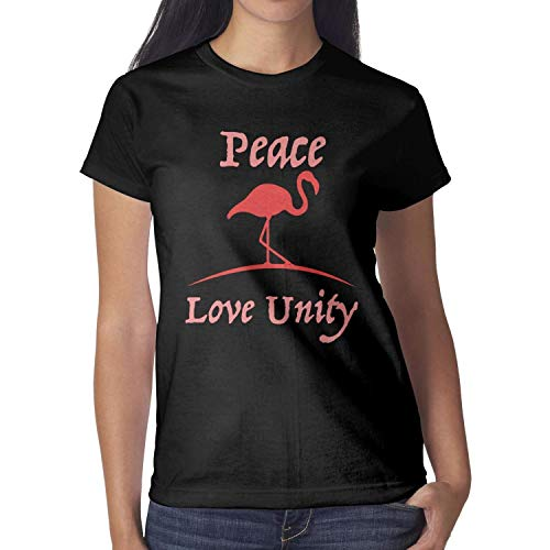 - Flamingo Peace Love Unity Black Womens Shirts Crew Neck Cotton Mesh Sport Cool Short Sleeve
