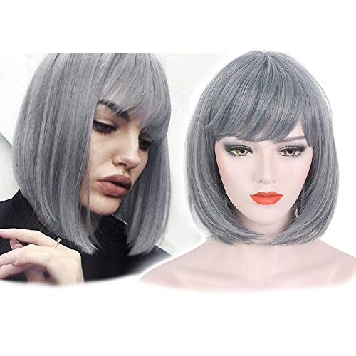 STfantasy Summer Bob Wigs with Bangs Ombre Grey Short Straight for Women Cosplay Costume Party Daily Use Hair 14