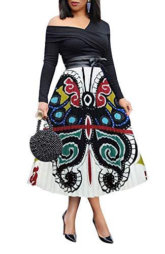 Womens Graffiti Pleated Skirts Elegant Cartoon Printed Elastic Waist Swing A Line Party Midi Skirt Clubwear Butterfly
