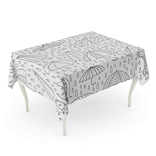 Tarolo Rectangle Tablecloth 52 x 70 Inch Coloring Hand Drawn Autumn Cute Umbrellas Book April Page Rainy Adult Table Cloth -