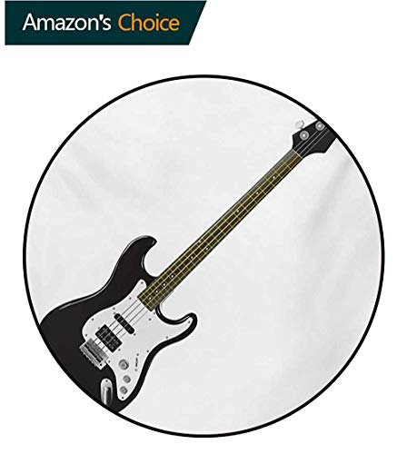 (RUGSMAT Guitar Super Soft Circle Rugs for Girls,Bass Four String Rhythm Music Rock and Roll Element Detailed Illustration Baby Room Decor Round Carpets,Round-71 Inch Black White Caramel)