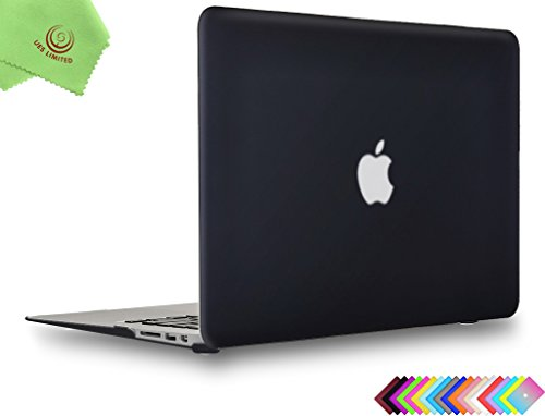 MacBook Air 13 inch Case, UESWILL Smooth Soft-Touch Matte Hard Shell Case Cover for 2008-2017 MacBook Air 13 inch (Model A1466 / A1369) + Microfibre Cleaning Cloth, Black