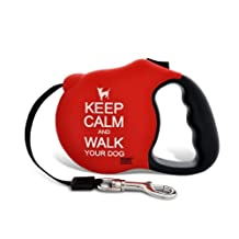 26 Bars & a Band Avant Garde Retractable Leash, Keep Calm/Red, Small