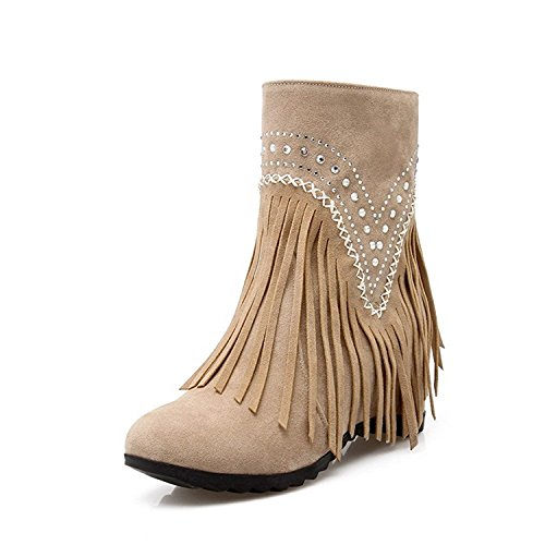 shiybugou Women's Fringed High Heels Round Closed Toe Frosted Pull On Boots Apricot5.5 B(M) US - Arundel Mill