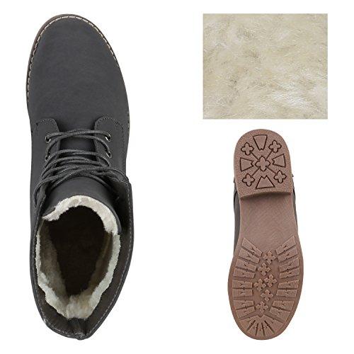 Stiefelparadies Damen Schnürstiefeletten mit Blockabsatz Profilsohle Flandell Grau Bernice