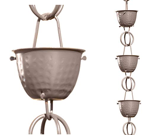 Monarch Aluminum Hammered Cup Rain Chain, 8-1/2 Feet Length (Musket Brown)