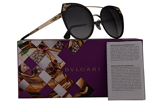 Bvlgari BV6095 Sunglasses Black Semi Matte Pale Gold w/Grey Gradient 53mm Lens 20248G BV 6095 - Eyewear Bulgari