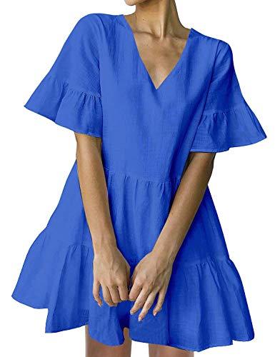 FANCYINN Women's Cute Shift Dress with Pockets Fully Lined Bell Sleeve Ruffle Hem V Neck Loose Swing Tunic Mini Dress Royal Blue S