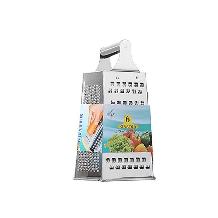 4147T6%2BRjWL Material: acero inoxidable. Rallar, rallar y rebanar-usted puede hacerlo todo con este rallador robusto de la caja del acero inoxidable. Diseño de lujo: construcción de acero cepillada elegante con los bordes rodados para la durabilidad, más las láminas estupendo-agudas para la reja rápida, eficiente.