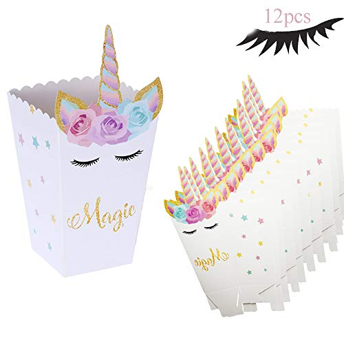 12 Pcs Popcorn Snack Boxes Rainbow Unicorn Pattern Treat Box Candy Cookie Container for Baby Shower Birthday Party Supplies?