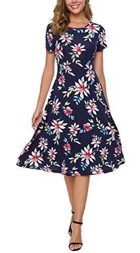 (Urban CoCo Women's Floral Print Short Sleeve Flared Midi Dress (L, 11))