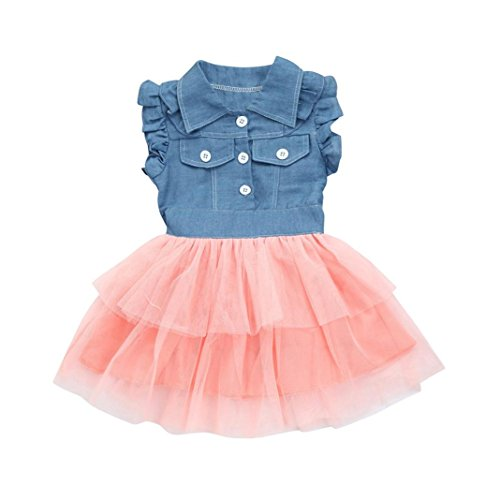Dress Set Pink Denim - Goodlock Girls Dress, Toddler Kids Baby Girl Summer Sleeveless Princess Denim Patchwork Tulle Tutu Party Dress (Pink, Size:3T)