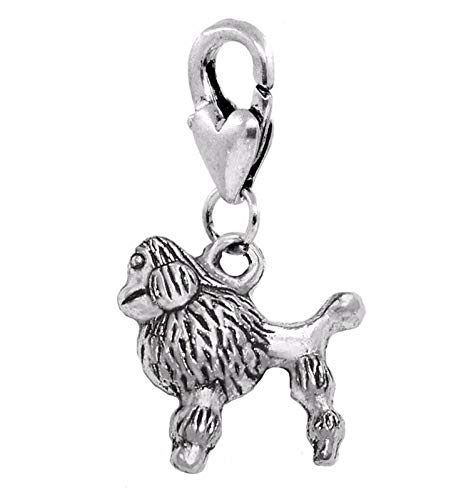 Unique Fashion Charms and Bracelets Poodle Dog Breed Animal Pet Puppy Pup Clip On Lobster Dangle Charm for Bracelets