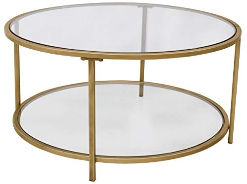 "Ravenna Home Parker Round Shelf Storage Coffee Table, 31.5""W, Glass and Gold"