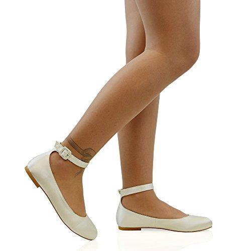 ESSEX GLAM Sintético Bailarinas con tiras al tobillo para novia Marfil Satín
