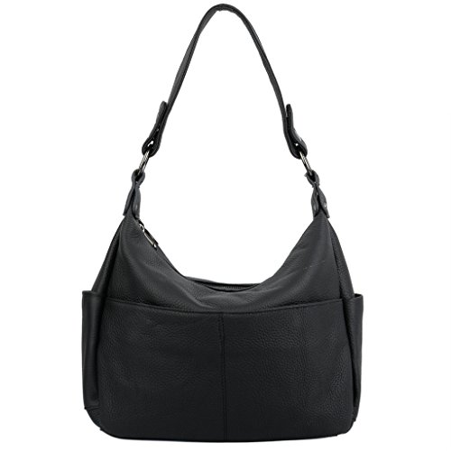 YALUXE Women's Double Zipper Cowhide Leather Hobo Style Shoulder Bag (Designer Black Handbag)