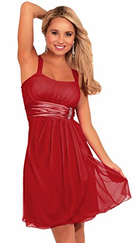 Women's Sleeveless Rhinestone Empire Waist Chiffon Evening Cocktail Party Dress