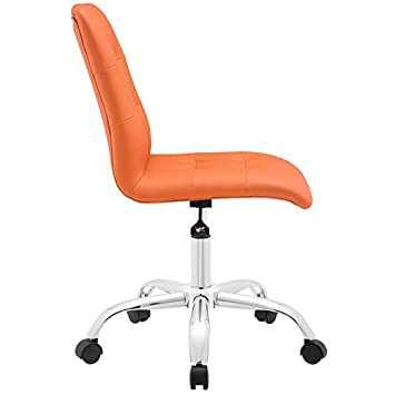 Modway Prim Ribbed Armless Mid Back Swivel Conference Office Chair In Orange