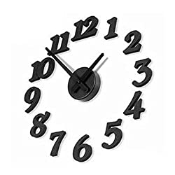 Rukiwa Clock, DIY Self Adhesive Decal Modern Wall Digit Number Room Interior Decoration Clock