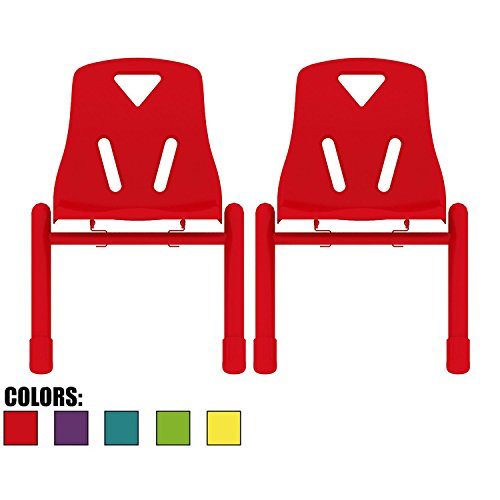 2xhome Set of 2 Kids Chair Stackable Chairs Molded Plastic Metal Leg for Preschool School Child Children 2 3 4 5 Years Old for Home Kitchen Dining Room Activity Table Desk Bedroom Daycare Red