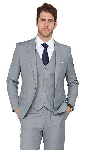 MAGE MALE Men's 3 Pieces Suit Elegant Solid One Button Slim Fit Single Breasted Party Blazer Vest Pants Set, Light Grey, Medium