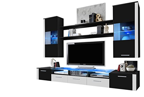 MEBLE FURNITURE & RUGS Wall Unit Modern Entertainment Center with LED Lights Fresh (Black/White)