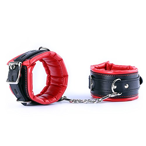 Bondage Set-Handschellen, URLOVE Handfesseln Erotik Sex-Spielzeug mit Einstellbare Fesseln mit Kette für SM Paare - Schwarz-rot