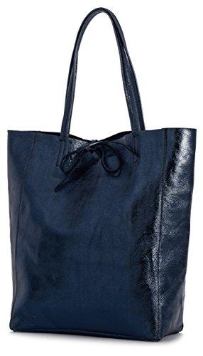 Metallic Leather Hobo Handbag - LIATALIA Genuine Italian Soft Leather Leightweight Large Hobo Tote Shopper Shoulder Handbag - ASTRID [Metallic Navy]