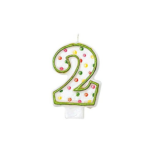Amscan Fun Multicolored Polka Dot Flat Molded Number 2 Celebration Candle, White, 3