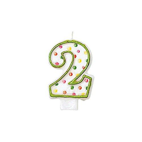 Amscan #2 Polka Dots Birthday Candle | Party Supply -