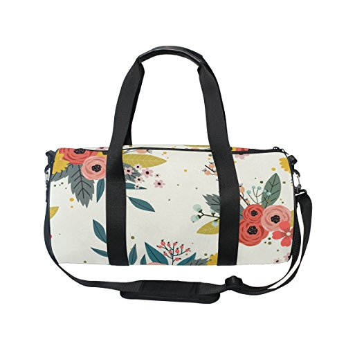 U LIFE Country Garden Floral Flowers Sports Gym Shoulder Handy Duffel Bags