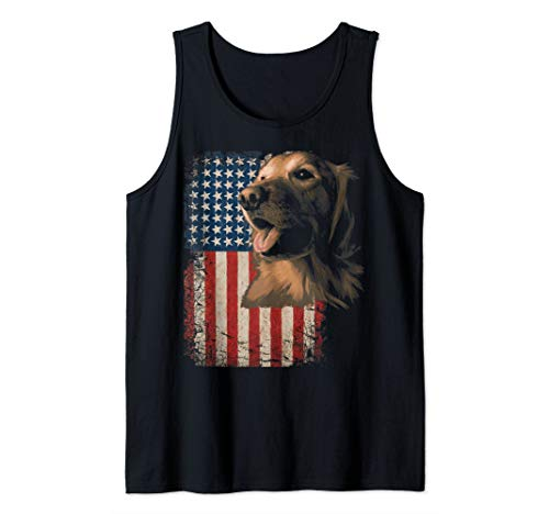 Golden Retriever American flag USA Dog Patriotic  Gift  Tank Top