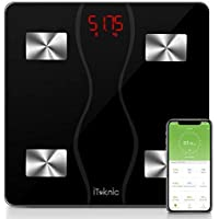 iTeknic Digital Personenwaagen Körperfettwaage Digitale Körperanalysewaage Bluetooth Körperwaage mit APP BMI Gewicht Körperfett Fitness-Monitor aus Gehärtetes Glas, bis 180kg 400lb, MEHRWEG