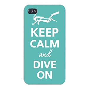 Apple Iphone Custom Case 6 plus 5.5 White Plastic Snap on - Keep Calm and Dive On w/ Scuba Diver