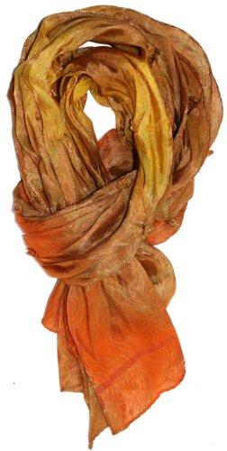 LibbySue-Silk Rainbow Scarf Shawl with Tiny Pearl Beaded Florettes