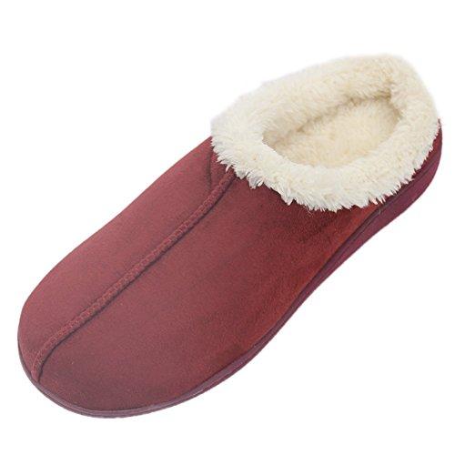 Home Pantoffel Heren Gezellig Pluche Gevoerd Micro Suède Bovenste Memory Foam Indoor Pantoffels Donkerrood
