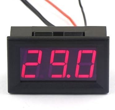 Indicador de temperatura del termómetro digital DC 12V -50~110 ° c Detector de temperatura integrado con sonda LED Pantalla roja