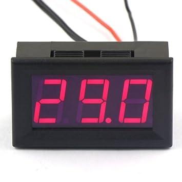 Indicador de temperatura del termómetro digital DC 12V -50~110 ° c Detector de temperatura integrado con sonda LED Pantalla roja: Amazon.es: Electrónica
