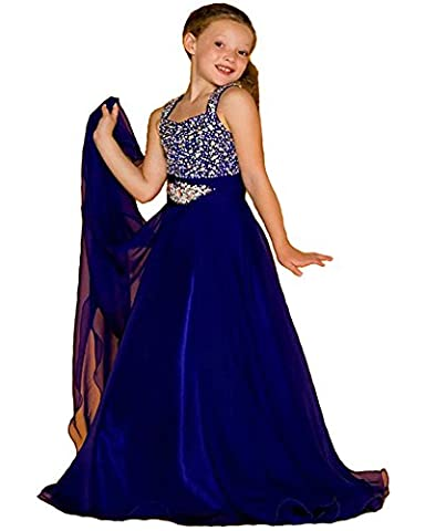 Babibridal Little Girls Birthday Party Beaded Floor length Ball Gown Pageant Dresses (8, Royal - Length Beaded Satin
