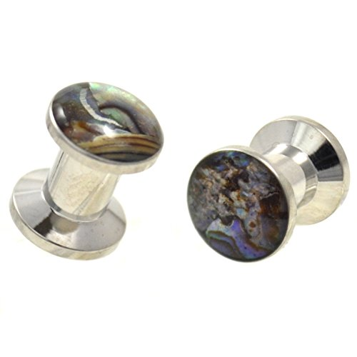 Abalone Shell Inlay Plug - Pair (2) Wild Abalone Shell Inlay Ear Plugs Stainless Steel Screw Fit Stash Gauges - 6G 4MM