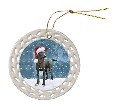 Let it Snow Christmas Holiday Xoloitzcuintli Mexican Haireless Dog Wearing Santa Hat Ceramic Doily Ornament D044 by Doggie of the Day