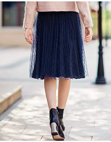 Vintage Stripe Tulle Gonne Scuro Blu Pieghe Waist Petticoat Donna Moda Eleganti Abbigliamento Linea Sottoveste Gonna Sciolto Ad High A Autunno HnatxEUWwx