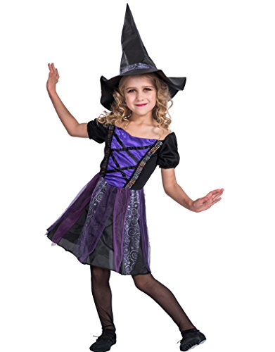 EraSpooky Girl's Fairytale Classic Halloween Witch Costume(Purple, Large) - Fairytale Themed Costumes